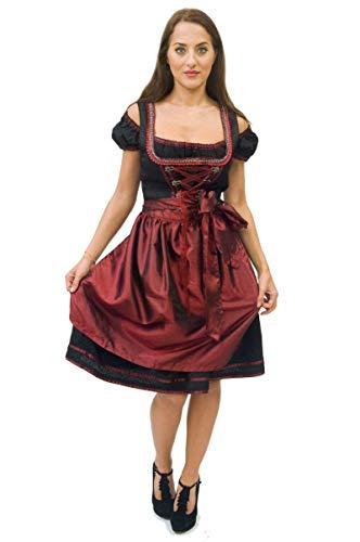Zoelibat Dirndl schwarz rot Oktoberfest Dirndel Damenkostüm mit Schürze Wiesn Gr. XXL