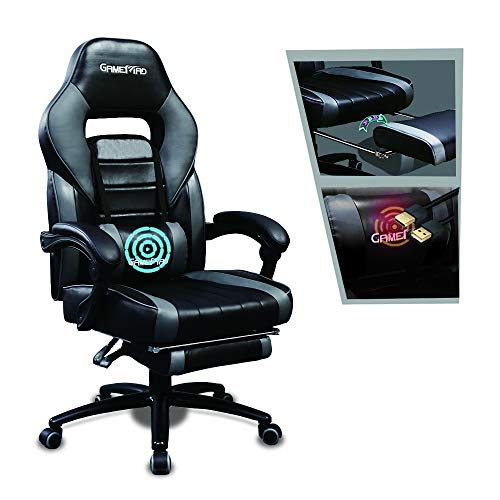 Gaming Chair with Footrest Racing Recliner Big and Tall Computer Game Chair with Massage Office Chair Ergonomic Desk Chair PU Leather Headrest Lumbar Support (Grey)