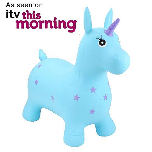 HappyHopperz Inflatable Ride On, Bounce Along Toy - Turquoise Unicorn