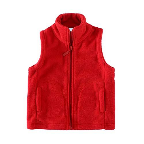 LittleSpring Fleece Vest for Girls Zipper Warm Solid Red 5T