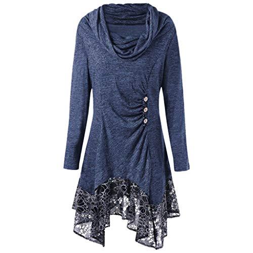 Refill Damen Elegant Spitzenkleid Knopf Schalkragen Saum unregelmäßiges Langarm Kleid,Pullover...