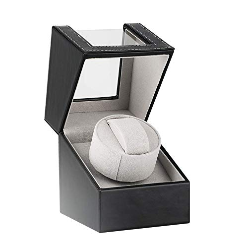 Advanced Automatic Watch Winder Box for 1 Wristwatch Waterproof Leather Watches Winding Case...