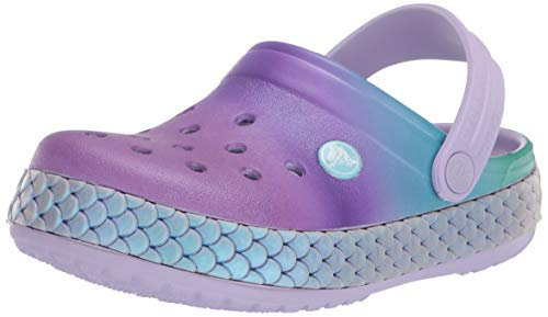 Crocs Unisex Kid's Crocband Metallic Mermaid Clog|Slip On Girls' Sandal|Water Shoe, Lavender, J2 M US Little