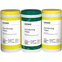 3-Pack of 75-Count Amazon Brand Solimo Disinfecting Wipes, Lemon Scent & Fresh Scent