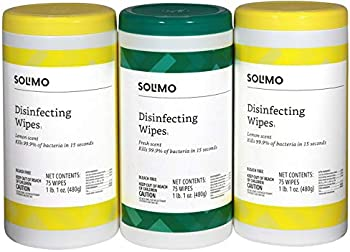 225-Count (3 x 75-Count) Amazon Brand Solimo Disinfecting Wipes