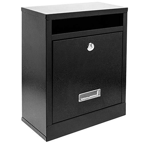 PrimeMatik - Metalen brievenbus voor brieven en post in zwarte kleur 24 x 12 x 31 cm