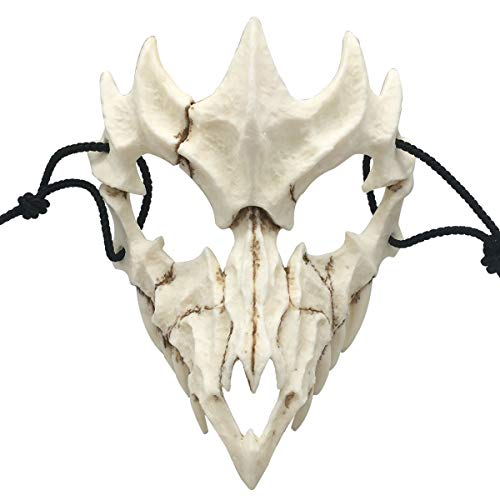 Nincee Japanische Halloween-Maske, Tiger Cosplay-Maske - Harz Halbgesicht Weißer Schädel Gruselige Maske, Dekorative Maske Kostüm Halloween Neuheit Horrormaske Rollenspiel für Erwachsene (Drachen)