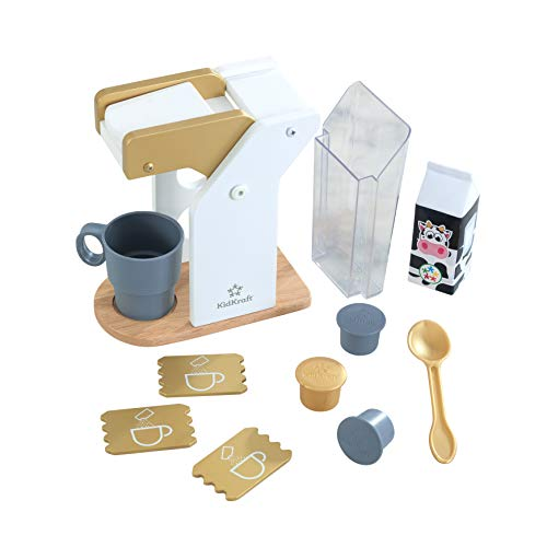 KidKraft 53538 Kids Play Kitchen Wooden Toy Coffee Set in Modern Metallic Colours, Play Kitchen Accessory