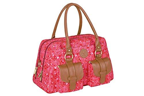 Lässig Sac à langer - Vintage Metro Paisley rose -Sac à langer Multifonctionnel pour Maman Pratique avec porte biberon isotherme et un matelas à langer imperméable, poche grand et superbe