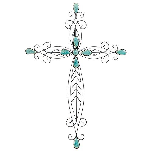 Dicksons Filigree Black Turquoise Stones 20 Inch Metal Decorative Hanging Wall Cross