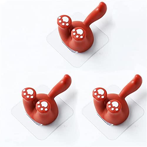 ZYKXSJ Gancho pegajoso lindo animal de dibujos animados, soporte de cepillo de dientes de pared, utilizado para colgar toallas, llaves, sombreros, baño, dormitorio (rojo)