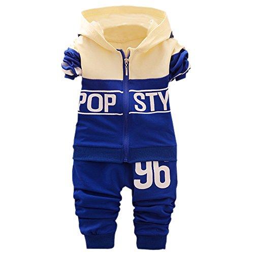 BOZEVON Baby Boys and Girls Maillots de Sport + Pantalons (100, Bleu Royal)
