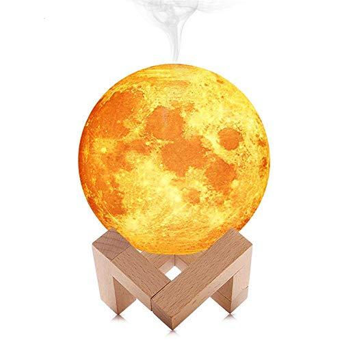 LARRY SHELL Lámpara de Luna Luz Nocturna 3D Humidificador de Niebla con Soporte y Control Táctil para Colores Claros con USB Humidificadores de Aire-para bebés niños Regalo Soporte de Madera