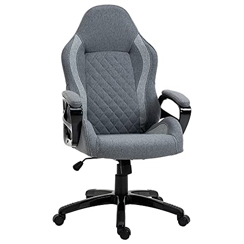Vinsetto Ergonomic Home Office Chair High Back Task Computer Desk Chair with Padded Armrests, Linen Fabric, Swivel Wheels, and Adjustable Height, Grey