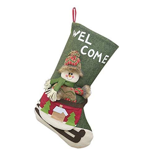 carol -1 Weihnachsstrumpf Weihnachten Strumpf Beutel Nikolausstiefel aus Stoff Weihnachtsmann und Schneemann Sortiert Süßigkeit Weihnachtssocke zum Befüllen und Aufhängen - Nikolaus-Strumpf - Rot