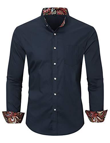 Jandukar Herren Hipster Patchwork Design Regular Fit Langarm Mandarin-Kragen Hemd (PJ _ Navy, M)