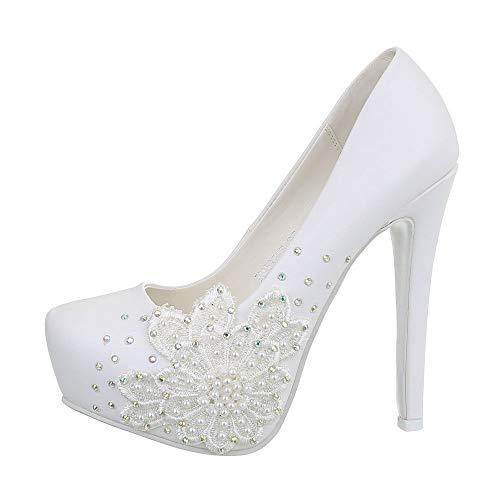 Ital Design Damenschuhe Brautschuhe Hochzeit Pumps High Heel Pumps Synthetik Weiß Gr. 35