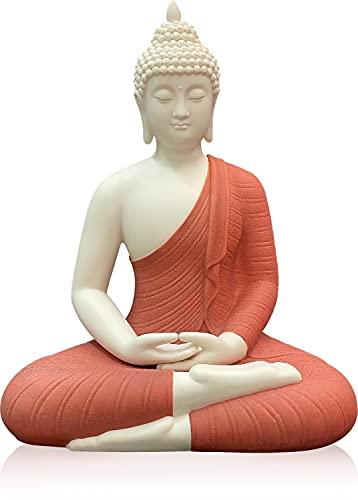 Houlu 12' Ceramic Buddha Statue, Sitting Buddha, Meditating Seated Buddha Figurine for Home Decor, Office Decor, Garden Decor, Indoor/Outdoor - Red