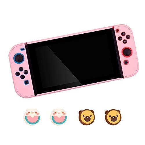 FKYNB Silikon Hülle for Nintendo Switch, Frosted Grip Hülle Anti-Rutsch-Ganzkörper-Shell mit Joystick-Kappen (Color : Pink 5)