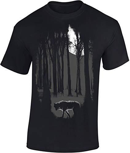 T-Shirt: Nachtwolf - Wolf T-Shirt Herren Damen Mann Männer Frau-en - Wulf Mond Fenris Odin Wikinger Viking-s Hund Fantasy Metal Jagd Jäger Wölfe Heulen-d Nacht Biker Wald Outdoor (XL)