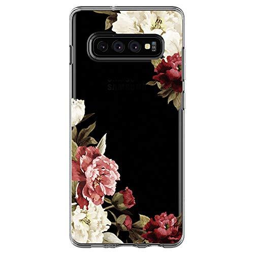 Jeack Kompatibel Mit Samsung Galaxy S10 Hülle Transparent Silikon Handyhülle Ultra Dünn Silikon Protection Farbe Blumen Muster Fit Samsung Galaxy S10 Hülle (6)