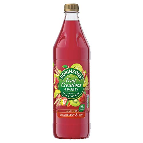 Robinsons Fruit Creations with Barley, Real Fruit Squash, Low Calorie, Luscious Strawberry and Kiwi, Pack of 12 x 1 Litre Bottles