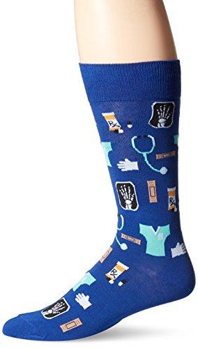 Hot Sox Men's Crew Socks, Medical (Dark Blue), Shoe Size: 6-12