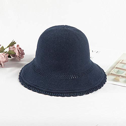 Hoed Vrouwelijke Zomer Ademende Gebreide muts Fisherman hoed Cover gezicht Zonnebrandcrème Adjustable (56-58cm) Blauw