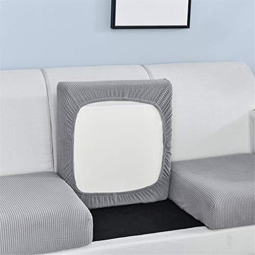 Funda de cojín elástica para sofá de color liso, para sofá de cuatro estaciones, con combinación individual y doble (gris, azul, 10)