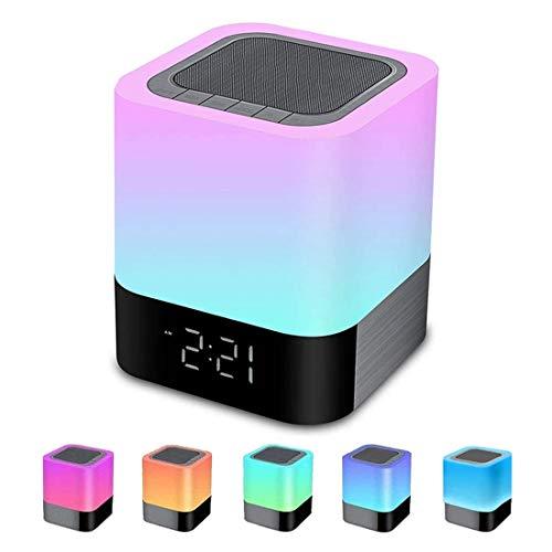 Night Light Bluetooth Speaker, Alarm Clock Bluetooth Speaker MP3...
