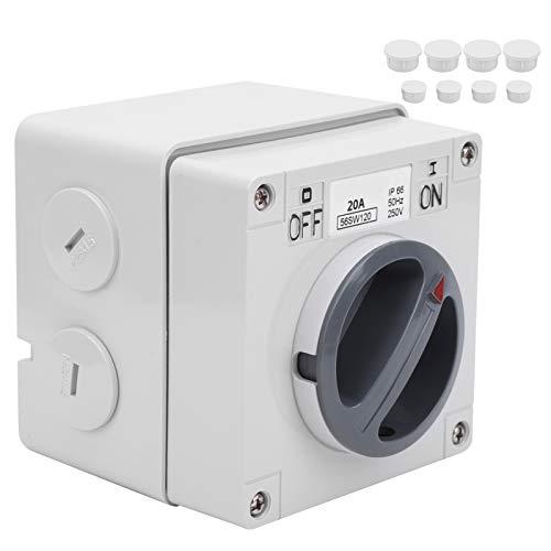 Interruptor a prueba de polvo, indicadores de botones, enchufe de interruptor impermeable al aire libre, para el hogar con un orificio de bloqueo de seguridad Construcción duradera(1P 20A, pink)