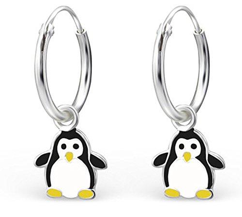 Orecchini bambina, in argento rodiato 925/000 e resina epossidica, a cerchio, motivo: pinguino
