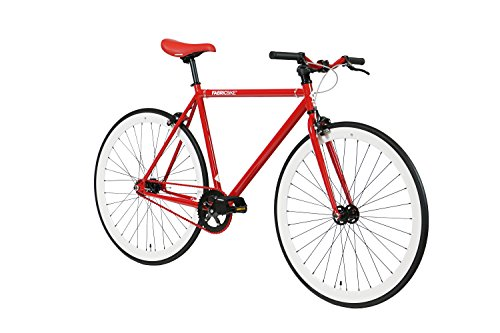 FabricBike-Fixie Bike, Single Speed Fahrrad, Fixed Gear, red Hi-Ten Steel Frame, 10kg (Red & White, M-53) - 2
