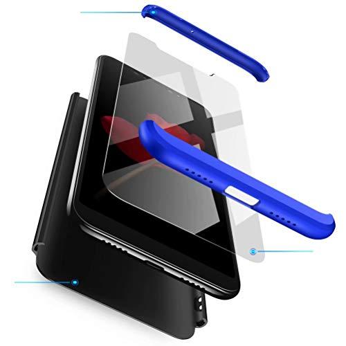 Azihone Funda Compatible Xiaomi Redmi Note 5/5Pro con 360°Todo Incluido Anti-Scratch, 3 en 1 Hard PC Caja Cover Resistente al Desgaste+Regalar 2*HD Vidrio Templado Carcasa Case-Azul Negro