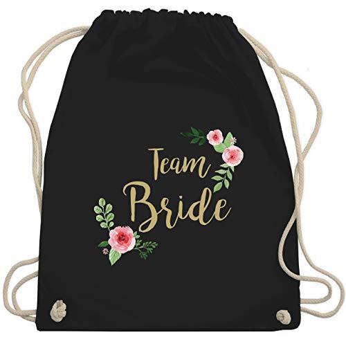 Shirtracer JGA Junggesellenabschied Frauen - Team Bride Blumen vintage - Unisize - Schwarz - jga jutebeutel braut - WM110 - Turnbeutel und Stoffbeutel aus Baumwolle