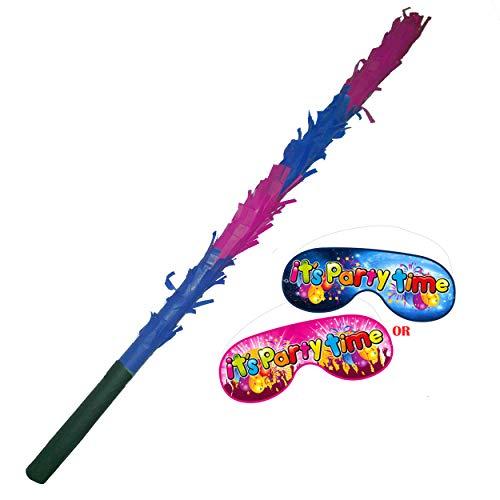 Pinata Buster Stick Augenbinde Fun Spiel Party Basher 50cm rosa und dunkelblau