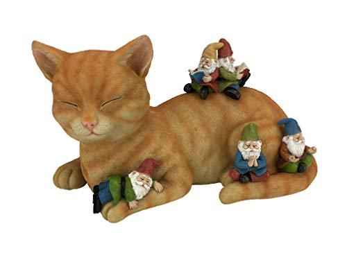 """GlitZGlam Cody Gato en Miniatura con Gnomos – """"Día de Relax"""" – Figurita de Jardín de Gnomos en Miniatura"""
