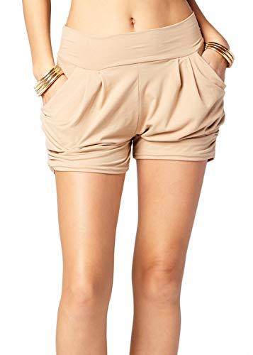 Premium Ultra Soft Harem High Waisted Shorts for Women with Pockets - Solid Beige Khaki - Small - Medium - NS01-Khaki-SM