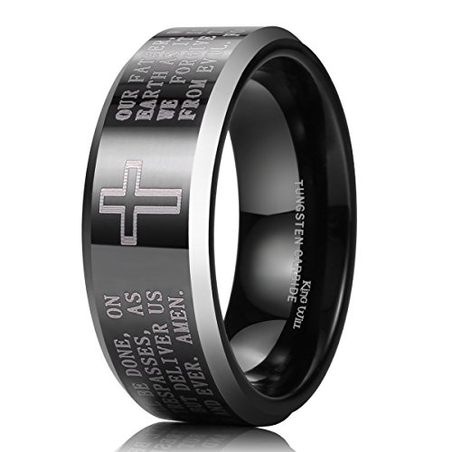 King Will Classic Men's Black Tungsten Carbide 8mm Lords Prayer Polished Finish Wedding Band Ring 14