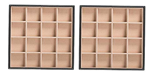 Glenor Co Earring Organizer Tray - Set of 2 - Stackable 32 Slots Jewelry Storage Trays - Display on Dresser or Drawer - Compatible with Other Glenor Trays - Black