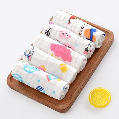 Tivivose 10 Piezas de bebé Muselina paño de Gasa de algodón Toalla de Cara Infante recién Nacido pañuelo Toallas