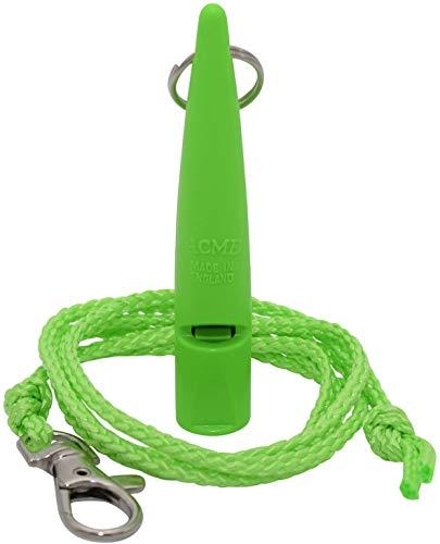 Acme Hundepfeife No. 210,5 + GRATIS Pfeifenband | Original aus England | Ideal für die Hundeausbildung | Robustes Material | Genormte Frequenz | Laut und weitreichend (DG Green)