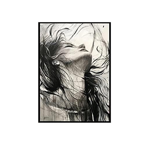 YYAYA.DS Cuadros Decorativos Arte Moderno Blanco y Negro Retrato Mujer Cartel Figura Arte Belleza desordenada Impresiones en Lienzo decoración artística 60x90cm