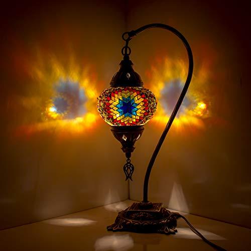Impresionante lámpara de mesita de noche de cristal turco marroquí con mosaico turco marroquí con base de bronce, multicolor