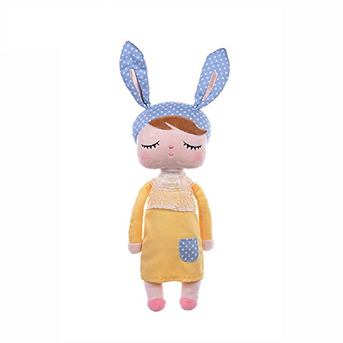 MOMSIV 13'' MeToo Angela Sleeping Bunny Rabbit Girl Baby Stuffed Plush Dolls Toys, Blue Ears with Yellow Dress by Fancyus (Gelb)
