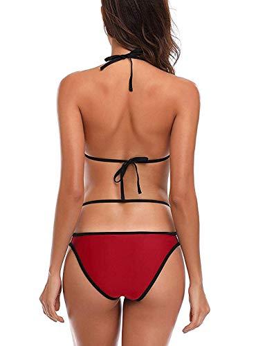 Jaanshi Women's Red Poly Lycra Strappy Bikini Set Swimwear Beach Bikini Set (S, Red)