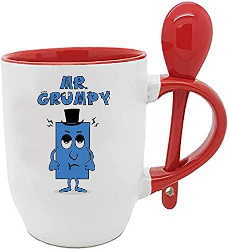 Mr.Grumpy Gift for Men Birthday/Christmas Stocking Filler Unique Funny Gift Present idea 11 Oz / 15 Oz Ceramic Coffee Mug. (White Mug)-Red Spoon