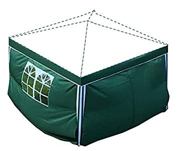 2 piezas de paredes laterales verdes de 3x2m para cenador / pabellón plegable / cenador de jardín, 1 con ventana, 1 con cremallera. (Solo paredes laterales sin pabellón sin marco)