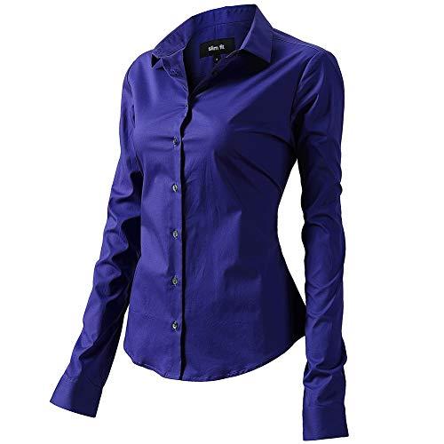 FLY HAWK Bluse Hemdbluse Damen Hemd Basic Kent-Kragen Elegant OL Work Slim Fit Langarm Stretch Formelle Hemden,Blau, Größe 38, Hersteller - 10
