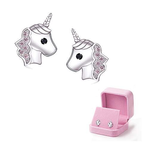 Einhorn Ohrringe für Mädchen, Rosa 925er Silber Einhorn-Ohrstecker Zirkonia Schmuck zum Kleines Mädchen Kinder Geburtstag Party Weihnachten Geschenke mit Geschenkbox aus Samt